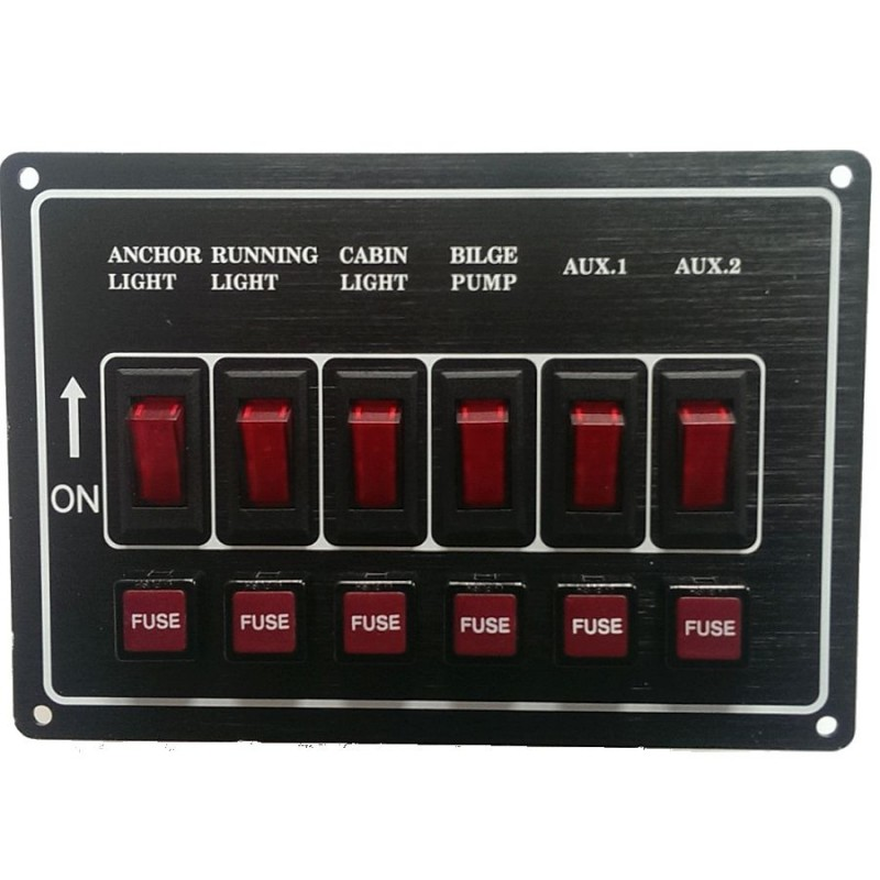 SeaMark Marine Switch Panel Horizontal 6 Gang 12v
